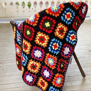 Vintage 70's Hand Knit Rainbow Granny Square Throw